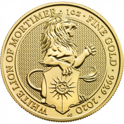 2020 British 1 oz Gold Queen's Beasts – White Lion of Mortimer - peninsulahcap